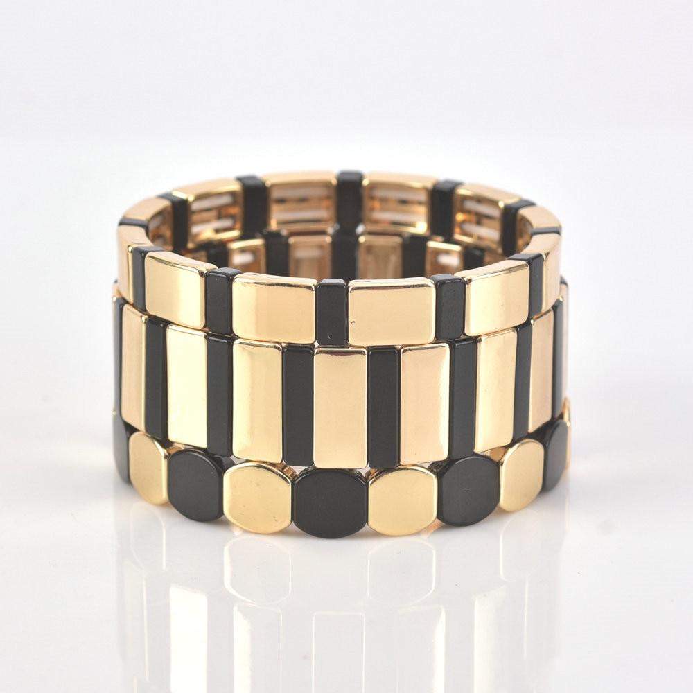 KSRA 2020 nueva moda pulseras hombres cuentas de azulejos pulsera hecha a mano joyería mujeres última moda brazalete cebra rayas para mujer regalo