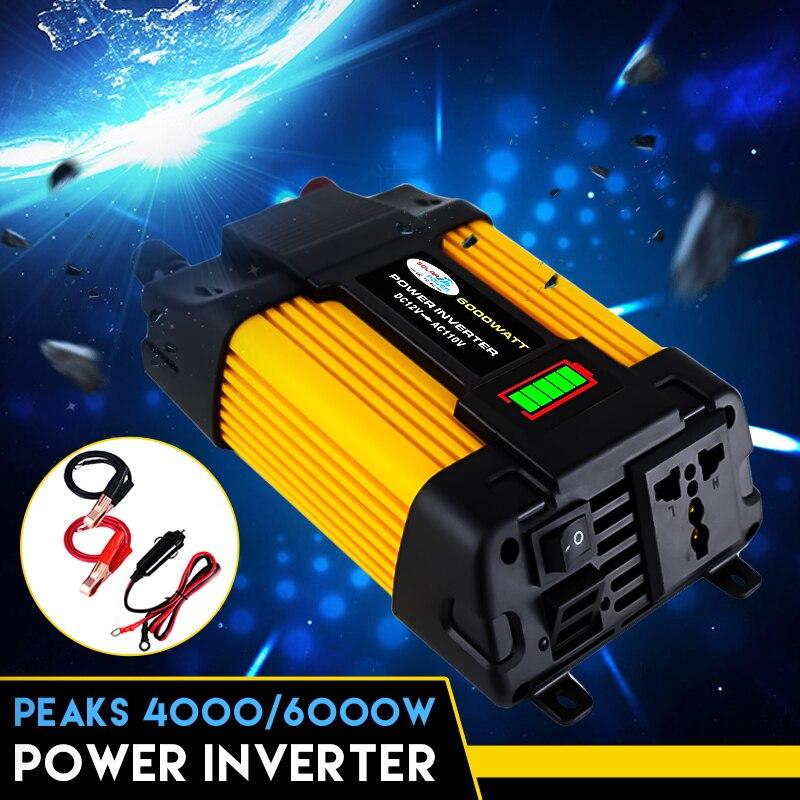 Dual USB 6000W DC 12V a 110/220V AC inversor de energía Solar para coche Adaptador convertidor convertidor de onda sinusoidal de 12V a 110/220V