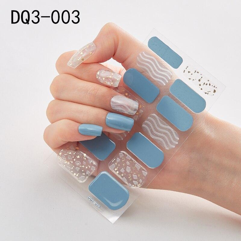 ¡Oferta! 1 unidad de pegatinas para uñas, Serie de purpurina, láminas azules, adhesivo para la decoración de uñas, adhesivo impermeable para uñas, suministros para manicura, salón