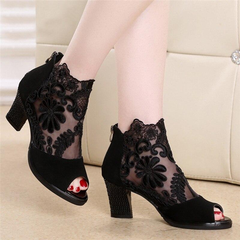 Lucyever sandálias femininas praça salto alto sapatos de verão mulher sexy flor rendas oco peep toe gladiador sandalias plus size 35-43