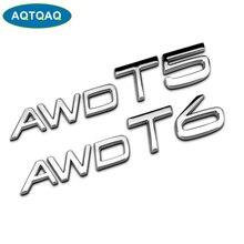 AQTQAQ 1Pcs 3D Metal AWD T5 T6 Car Side Fender Rear Trunk Emblem Badge Sticker Decals for Volvo S60L XC60 V40 XC90,Car stickers