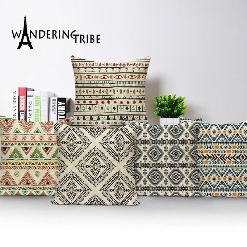 Funda de cojín a rayas estilo bohemio geométrico de lino Fundas De Almohada decorativas Para el hogar Cojines Decorativos Para fundas de sofá