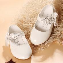 Chaussures en cuir pour bébés filles   Robe blanche de fête et de mariage, chaussures décole, pour enfants de 1 2 3 4 5 6 ans
