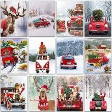 Kit de pintura de diamantes 5D DIY, animales de Navidad, coche, perro burro, mosaico bordado completo Cuadrado y Redondo, pintura de punto de cruz, decoración del hogar