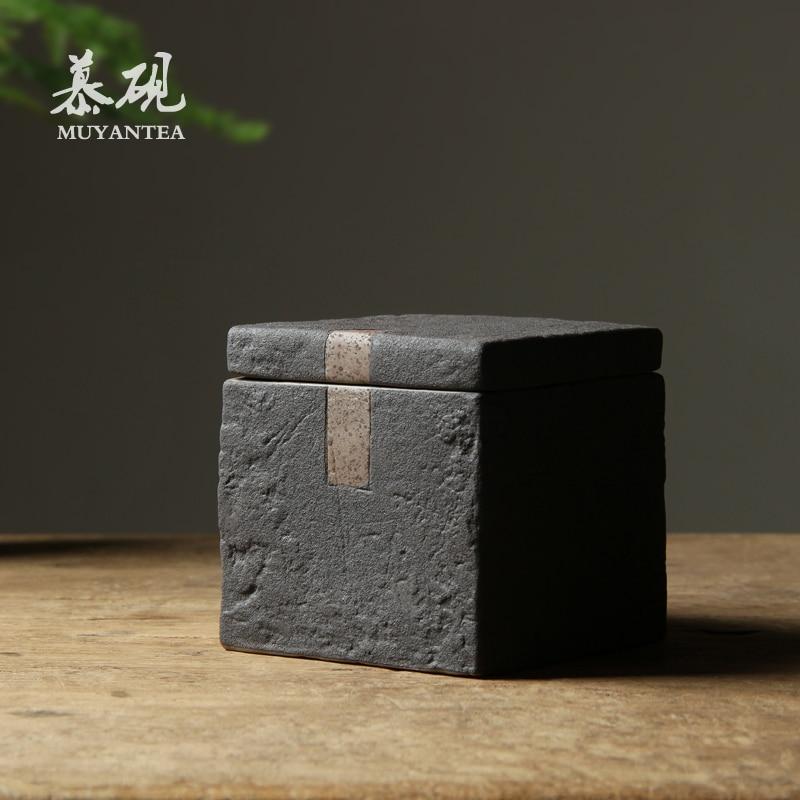 صندوق شاي مربع من السيراميك خمر اليابانية مختومة حاوية تخزين الاعشاب رائحة برهان صندوق شاي Caja Para Te المطبخ تيوير DB60TB