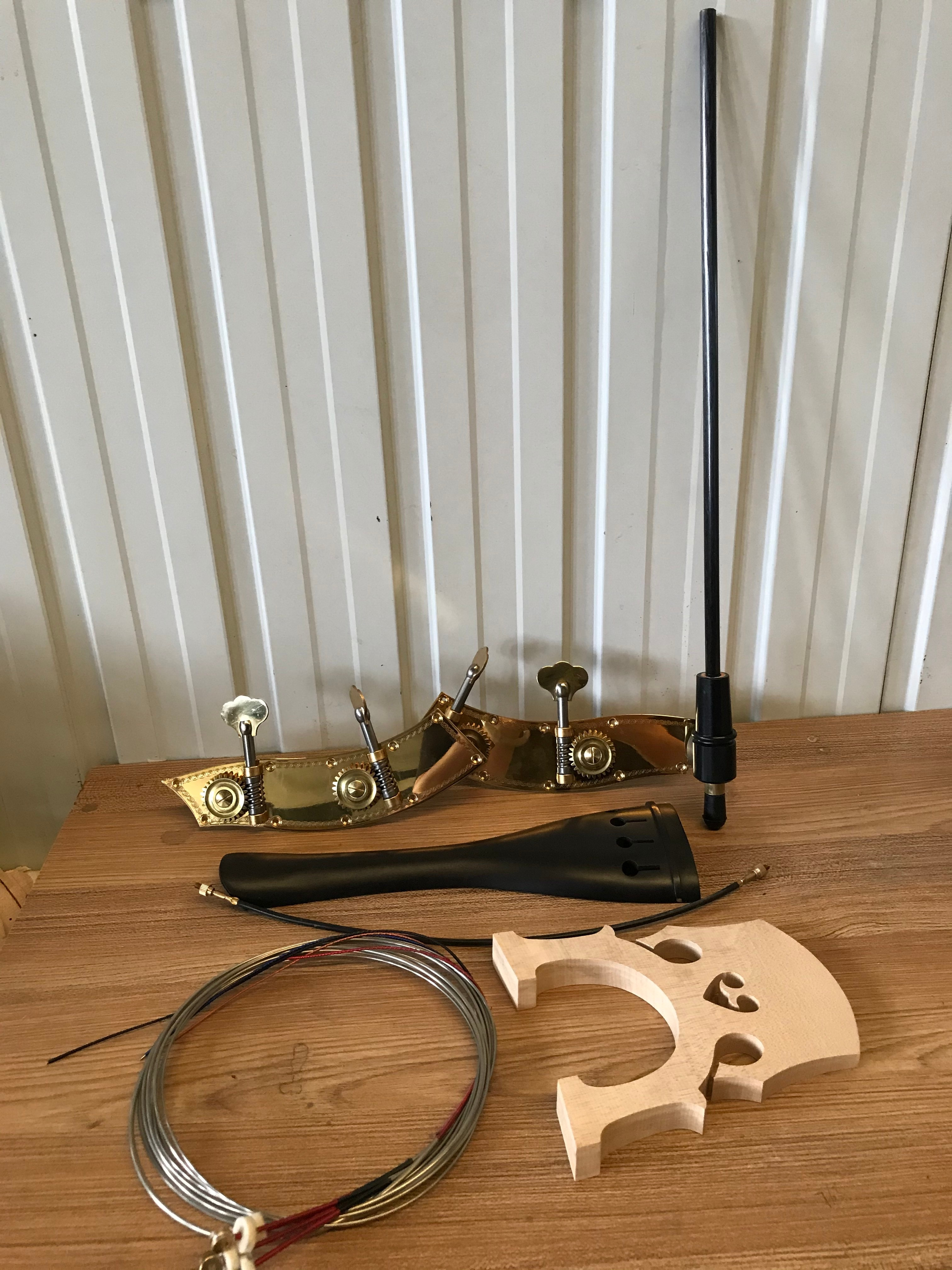 A set 3/4 Upright Double Bass Part Include :Contrabass Steel Gut Upright Bass Tailpiece/ Bridge/ Endpin /Strings/Tuning Pegs enlarge