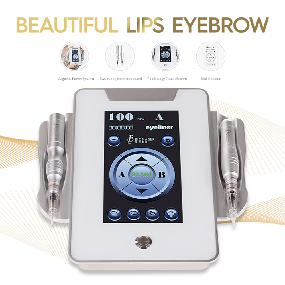 Biomaser MTS450 Digital Permanent makeup Machine 7 inch Touch Pad Screen with 2 Permanent makeup Pen Rotary Needles1r Foot pedal