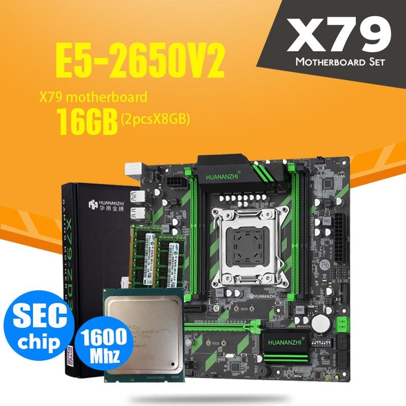 HUANAN ZHI X79-ZD3 материнская плата M.2 NVME MATX с процессором Intel Xeon E5 2650 V2 2,5 ГГц 2*8 ГБ = 16 ГБ DDR3 1600 МГц ECC/REG RAM