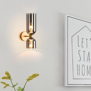 Nordic Glass Wall Lamp Sconce Lighting Fixture Mirror Creative Living Room Aisle Indoor Bedroom Bedside Led Decor Hallway Light