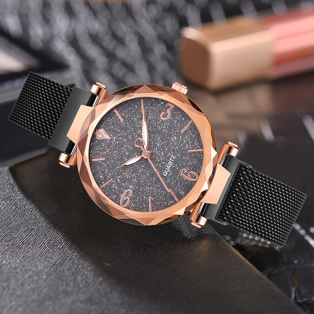 Rose Gold Women Watch 2021 Top Brand Luxury Magnetic Starry Sky Lady Wrist Watch Mesh Female Clock For Dropship relogio feminino enlarge
