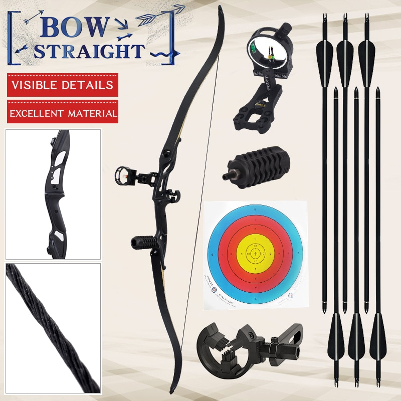 30-50 lbs Recurve Bow Bow And Arrow Archery Bow Traditional Bow Outdoor Hunting Bow Professional Long Bow For Shooting Horse Bow
