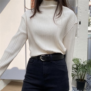 Women's Elegant Turtleneck Tops Solid Pleated Knitted Pullover Tops Office Lady Vintage Long Sleeves Women Shirts Autumn Spring