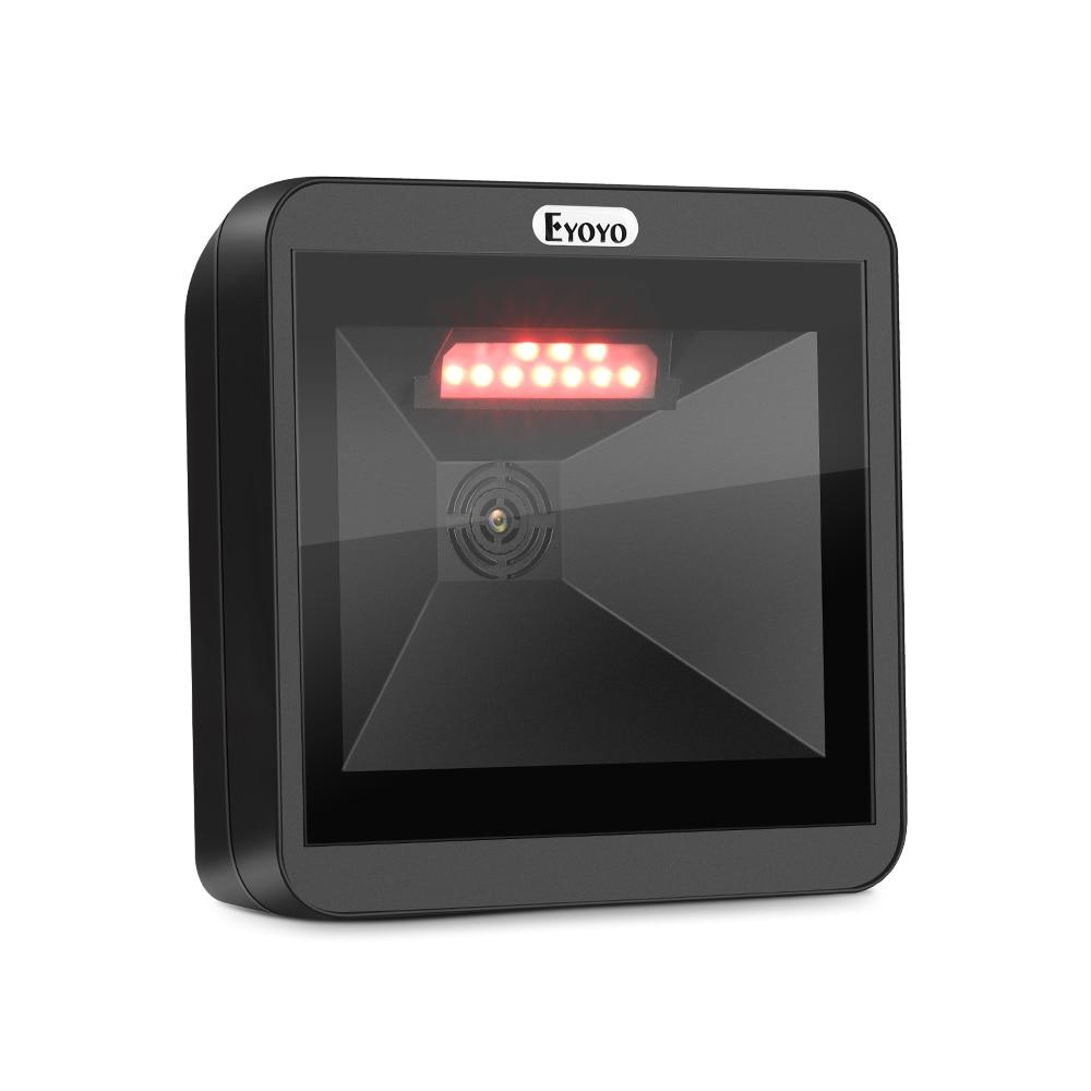 Eyoyo 2D سطح المكتب الباركود الماسح الضوئي ، متعدد الاتجاهات حر اليدين USB كبير قارئ شفرة التّعرّف 1D QR شاشة الباركود المسح الضوئي الماسح الضوئي