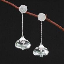INATURE 925 Sterling Silver Vintage Disegno di Nube Di Cristallo Naturale Orecchini A Pendaglio Per Le Donne Dei Monili di Cerimonia Nuziale