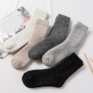 Winter Wool Warm Socks Super Soft Thick Solid Color Casual Socks For Men Women H9