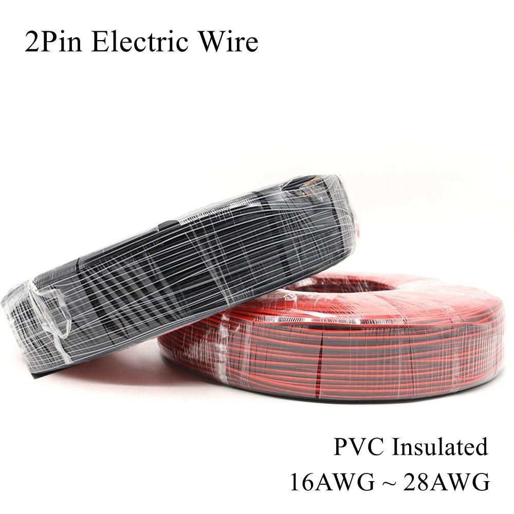 16AWG ~ 28AWG 2Pin Cable eléctrico Rojo Negro Cable de cobre estañado...