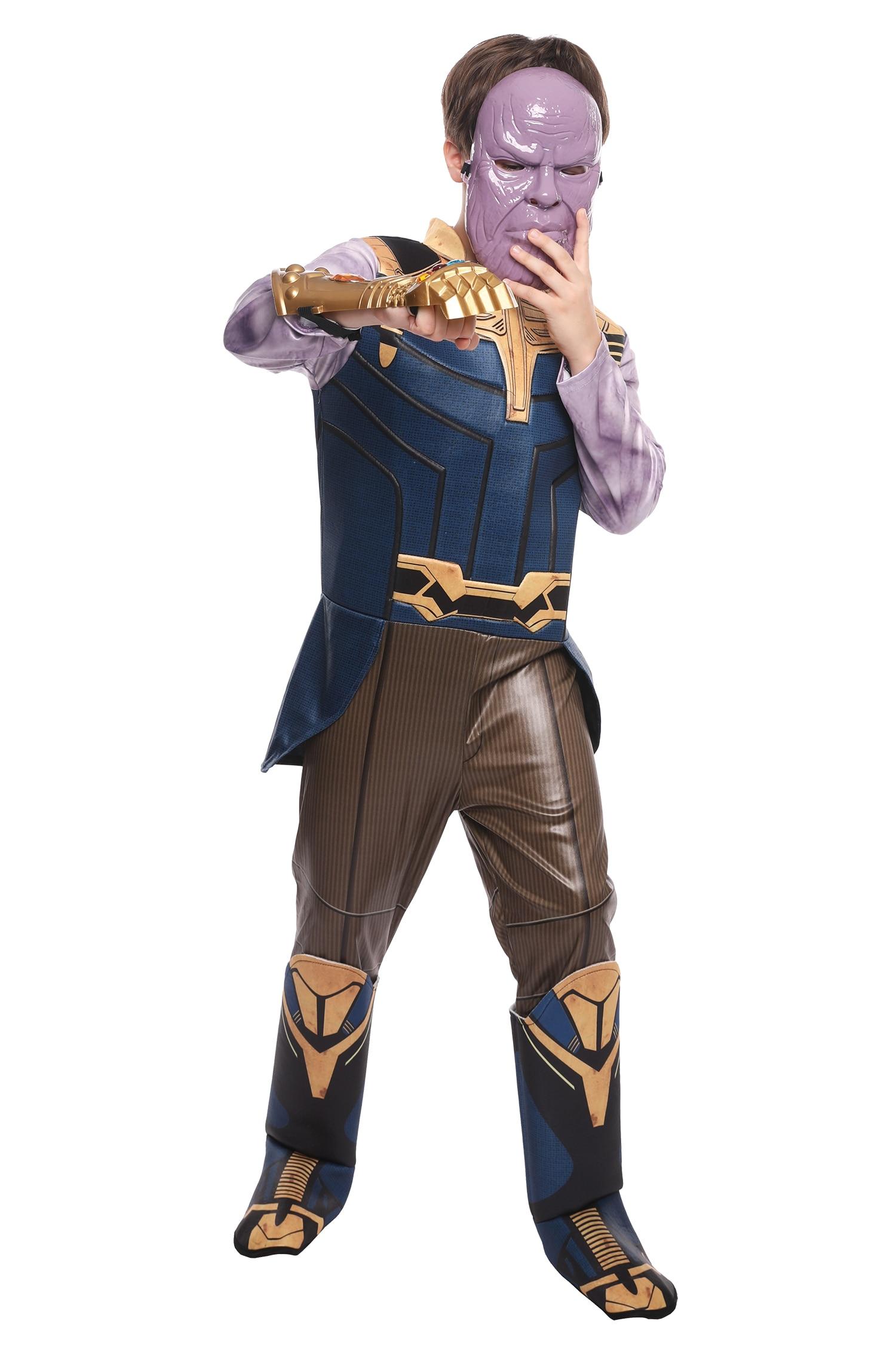 Halloween Boy's Thanos Cosplay Costume Captain America Superhero Iron Man Fantasia Outfit