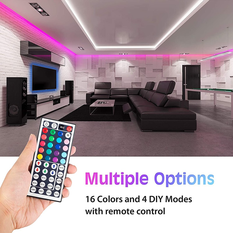YOURLITE أضواء شريط LED ، 32.8ft RGB 5050 أضواء LED مع وحدة تحكم عن بعد الأشعة تحت الحمراء ، سهلة التركيب قطع تصميم لغرفة النوم