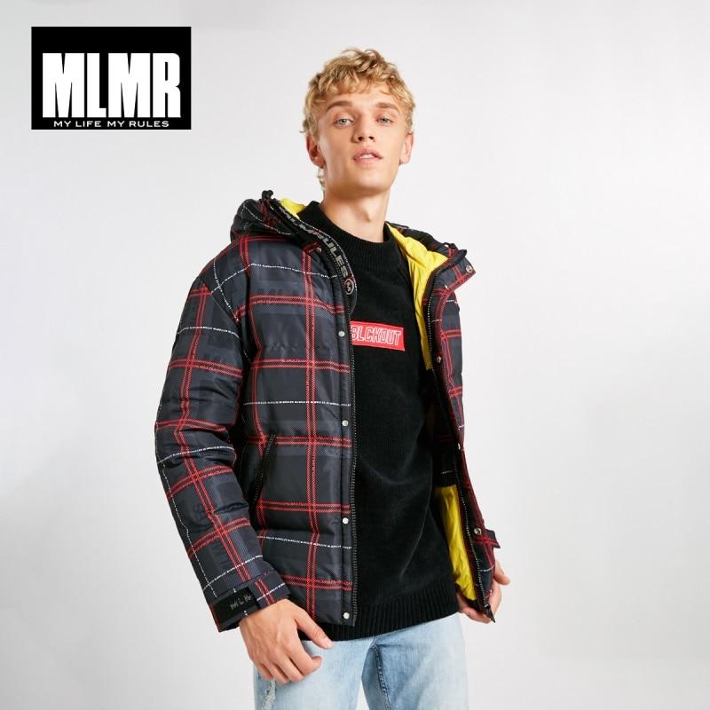Jackjones xadrez de inverno masculino impresso quente com capuz para baixo casaco estilo masculino 218312534