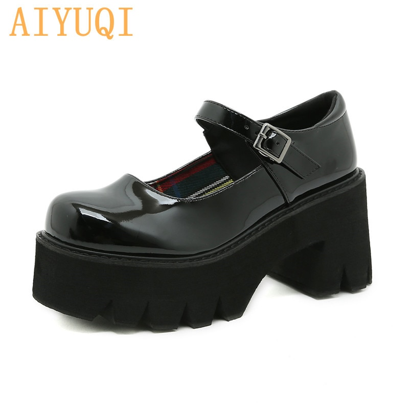 AIYUQI Mary Jane Shoes Women Platform 2021 Summer New Patent Leather High-heel Female Student Shoes