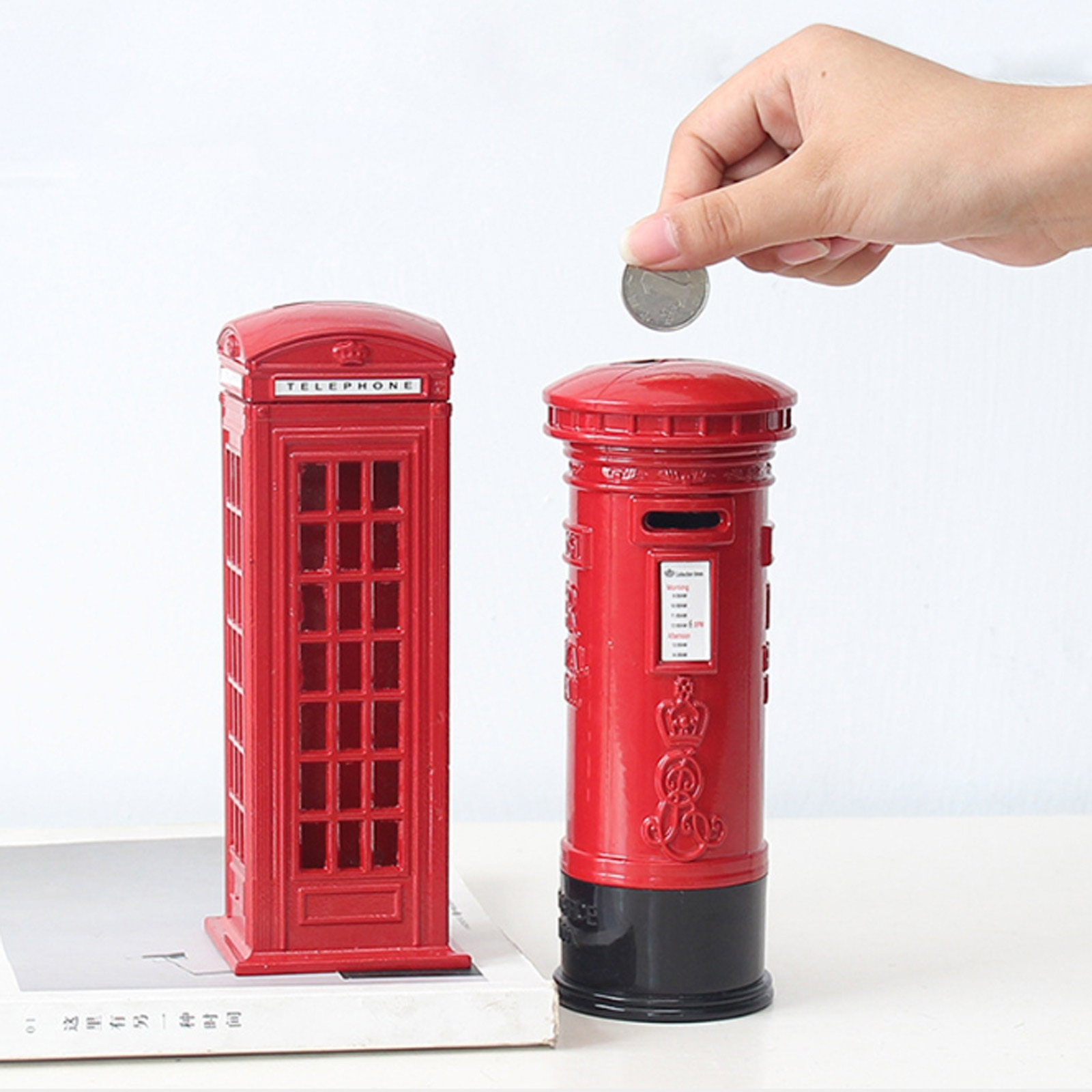 Metal Red British English London Telephone Booth Bank Coin Saving Pot Piggy Phone Box  6x6x18cm