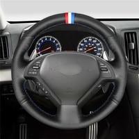 diy hand stitched customization anti slip wear resistant steering wheel cover for nissan skyline car interior decoration