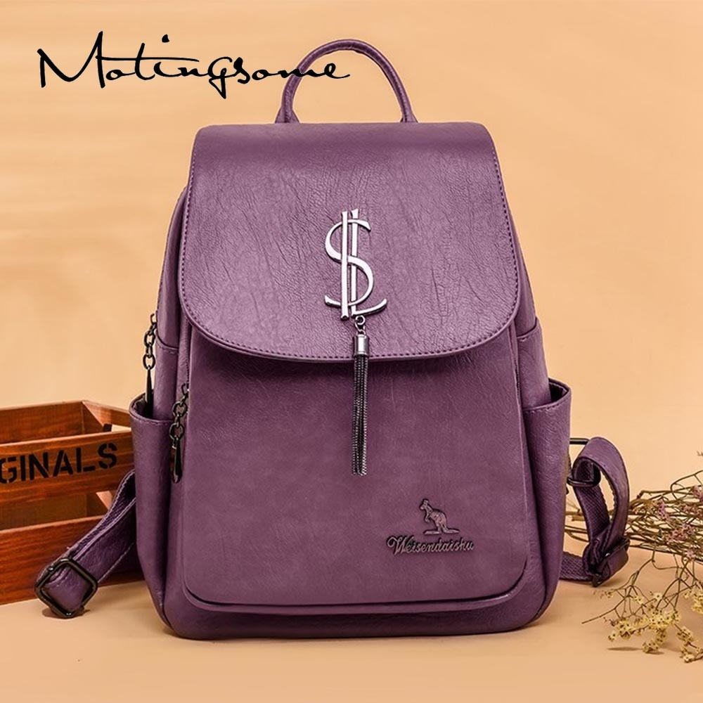 Causal Luxury Designer Backpack Women Backpacks High Quality PU Leather Fashion Female Back Pack Girl School Bag Black New 2021
