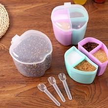 4 Grids Plastic Seasoning Storage Organizer Sugar Pepper Layers Box Kitchen Spice Lid Boxes Bottles Home Container Organization