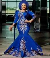 robe royal blue arabic women mermaid evening gown plus size satin mother of the bridal dresses 34 sleeves 2020 formal party