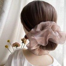 Scrunchies coreanos de Organza brillante para el cabello para mujer, banda transparente sólida para el cabello, tocado de cuerda para el cabello de moda Premium