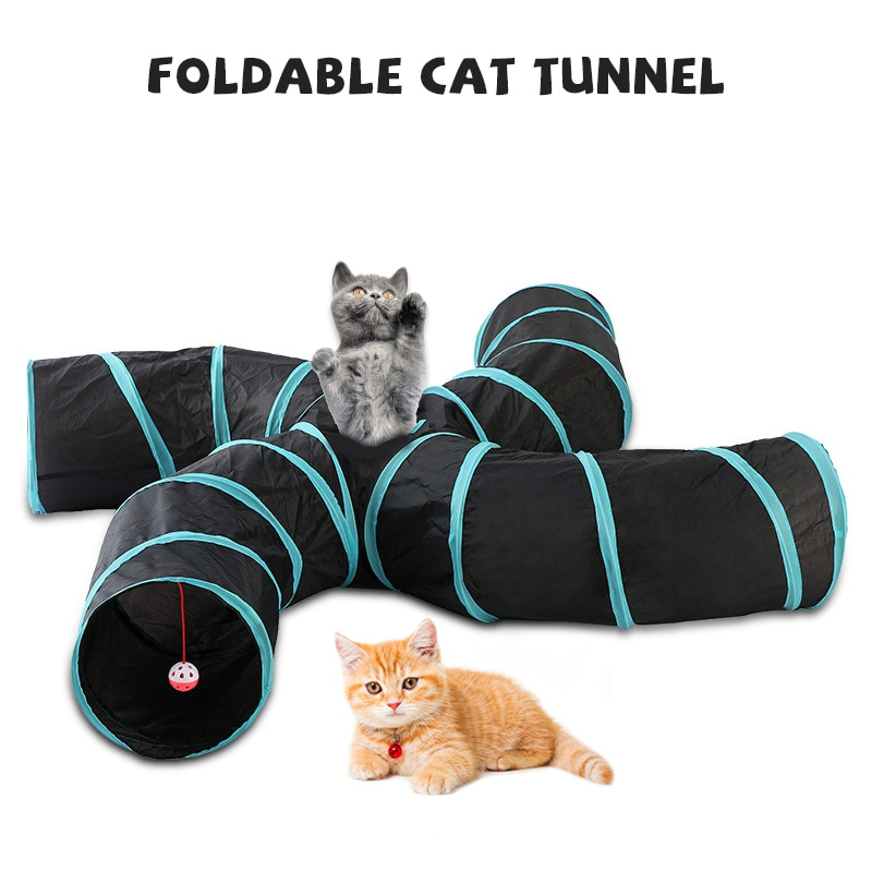 Gran oferta, túnel plegable para mascotas, tienda multicanal para gatos y perros, juguete de cuatro vías tipo S con 2-5 CANALES, portátil, fiable para las cuatro estaciones
