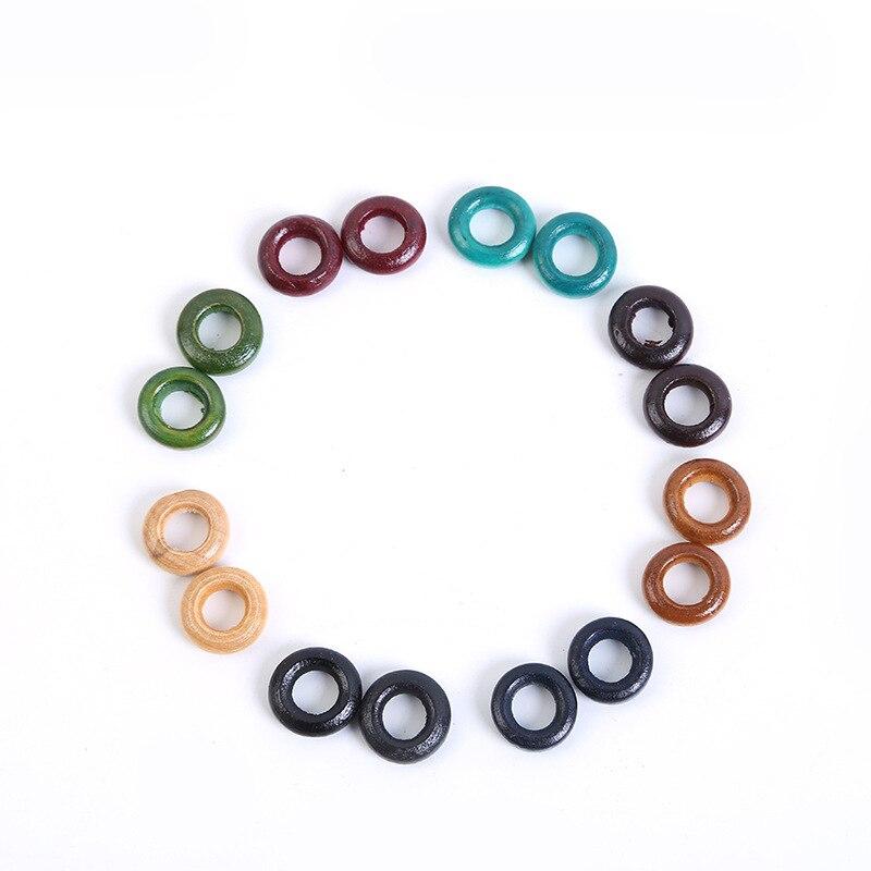 Missxiang DIY accesorios de joyería 14MM color madera círculo peluca joyería anillo hueco trenza extensión del pelo anillo cuentas niños joyería