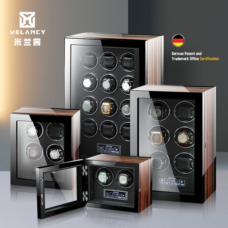 High-End Watch Winder Box Auto 2 4 6 9 12 24 Mechanical Watches Wood Mabuchi Motor LCD Touch Screen