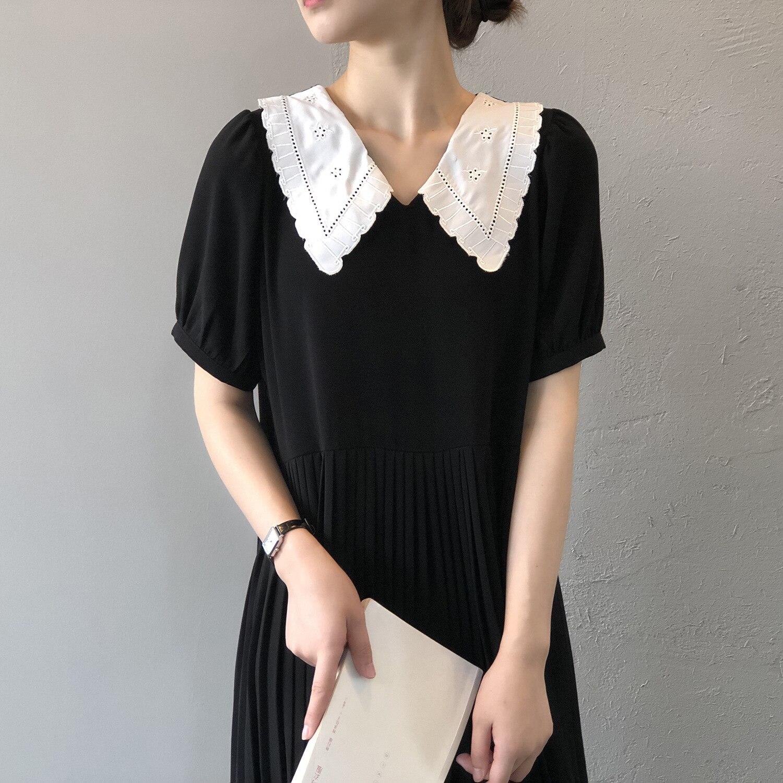 CMAZ New Sweet Dress Women White Peter Pan Collar Patchwork Black Mini Dresses Female Short Sleeve Pleated Vestidos H6081#
