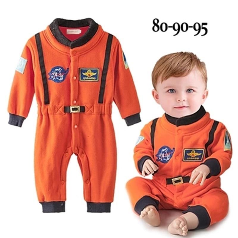 Одежда для маленьких мальчиков, оранжевая вышивка, Космический костюм, детские костюмы, комбинезон для новорожденных мальчиков, одежда астронавта, комбинезон с длинными рукавами