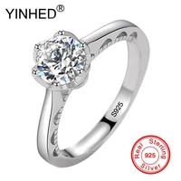 yinhed authentic 925 sterling silver wedding ring 1 25 carat round zircon cz diamond solitaire ring fine jewelry women zr690