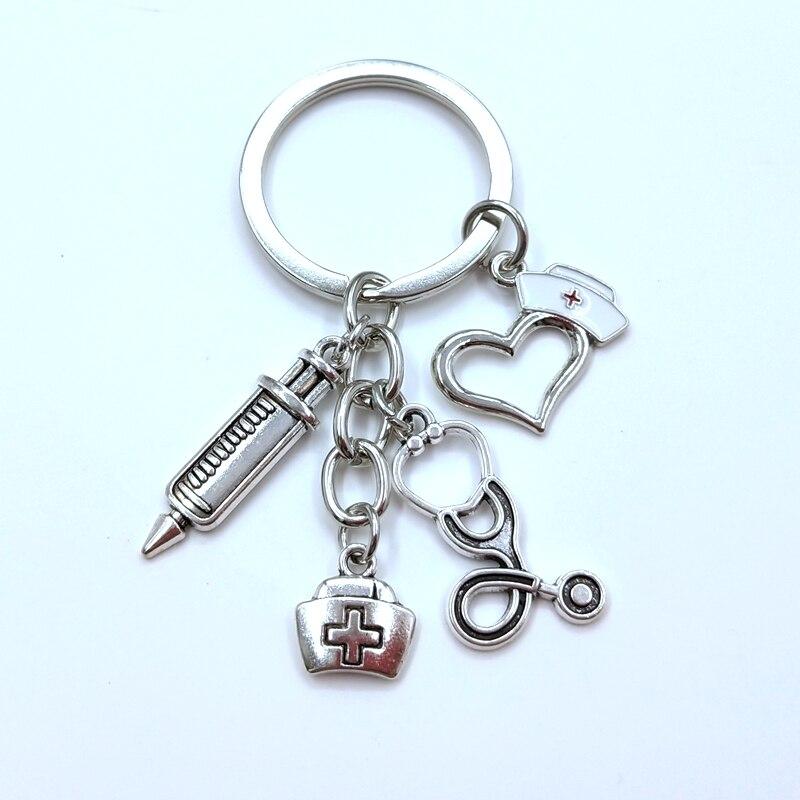 New Nurse Medical Box Medical Key Chain Needle Syringe Stethoscope Keychain Jewelry Medicine Graduate Gift