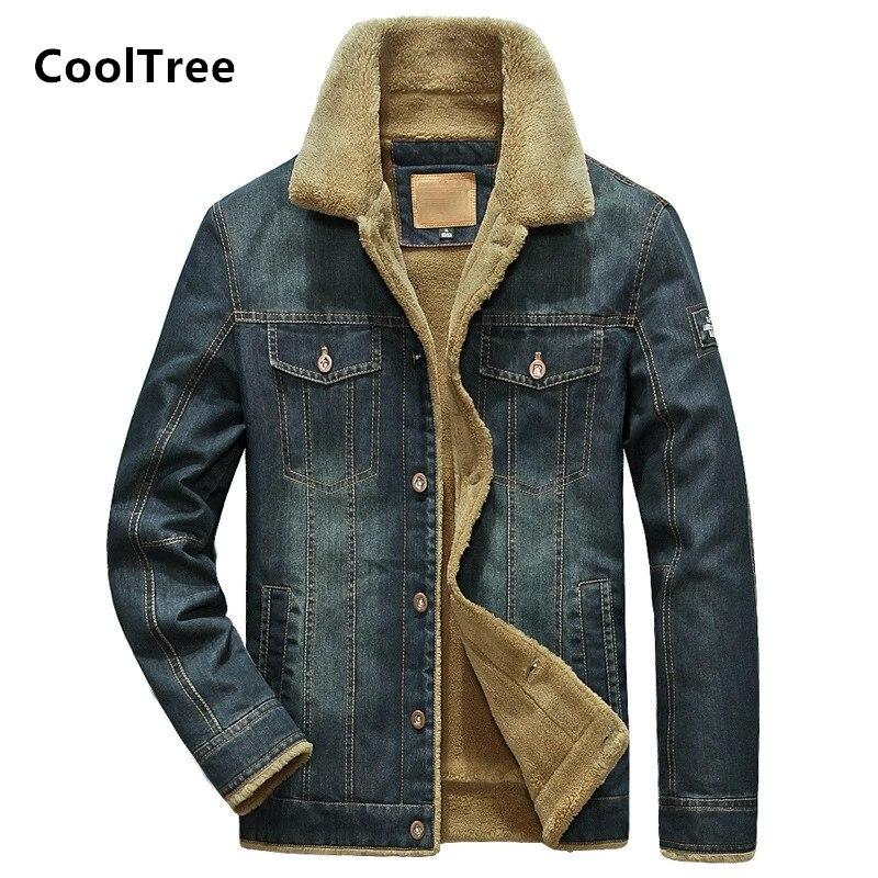 CoolTree الرجال الدنيم سترة الخريف الشتاء زائد المخملية سميكة الدافئة الفراء طوق الجينز معطف الذكور يتأهل الدنيم ملابس خارجية حجم كبير 7XL