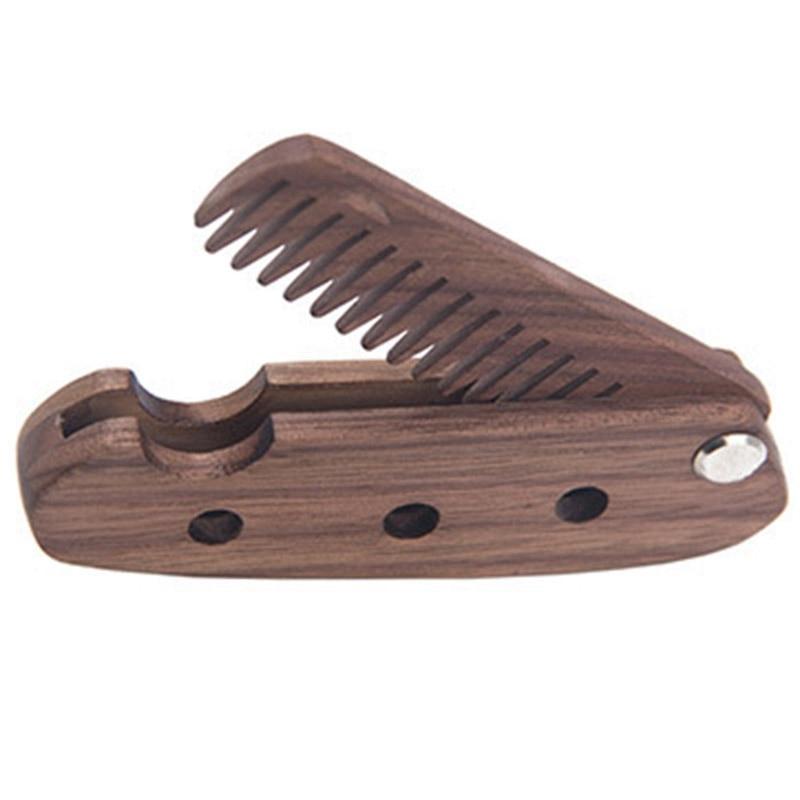 ABVP peine plegable de madera de nogal negro para hombre