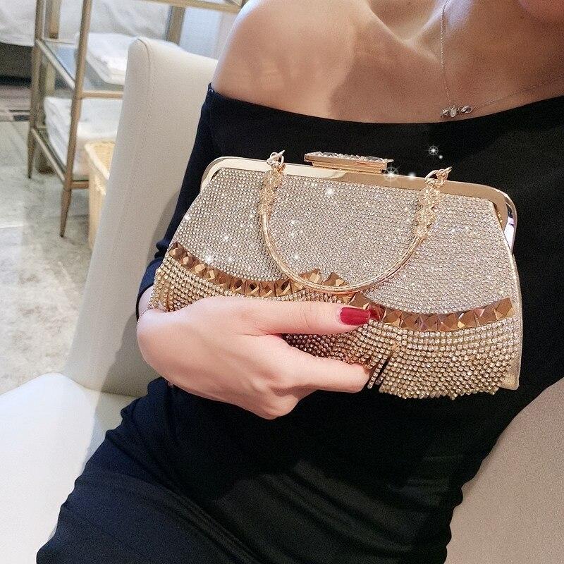 حقيبة يد نسائية مطرزة بشراشيب ، حقيبة سهرة فاخرة بمقبض من حجر الراين ، للحفلات والزفاف
