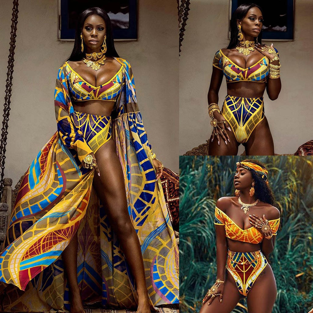 Women African Print Bikini Set Swimwear Push-Up Padded Bra Swimsuit Beachwear Bathing Suit Stripe Female Mid Waist Bathing Suit