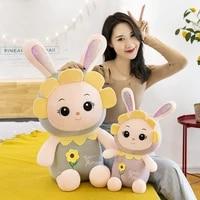 30 55cm lovely sunflower princess rabbit pink plush toy kawaii plush filled rabbit childrens pillow doll home decoration toy