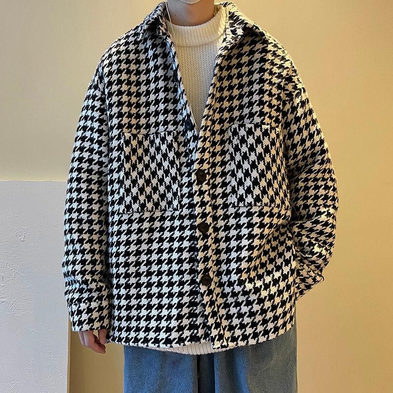Осенняя клетчатая куртка, Мужская модная повседневная куртка в стиле ретро с карманами, Мужская Уличная одежда, свободная куртка в Корейско...