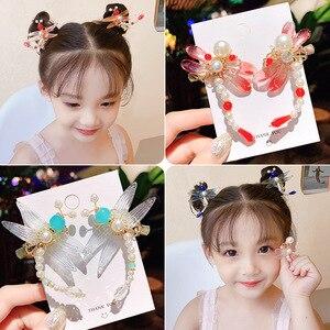 2 PCs/Set Retro Dragonfly Children Princess Hairpin Rhinestone Peal Girls Long Hair Clip Kids Sweet Headwear Hair Accessory