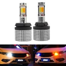 Дневные ходовые огни светильник 1156 7440 BA15S BAU15S P21W PY21W светодиодный лампы для Авто белый ночного вождения желтый указатель поворота автомобиля Двойной режим DRL
