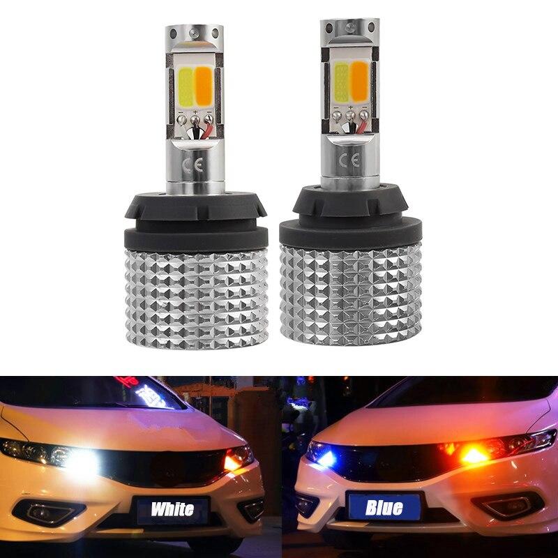 Tagfahrlicht 1156 7440 BA15S BAU15S P21W PY21W Led-lampe Für Auto Weiß Driving Gelb Blinker Auto Dual modus DRL