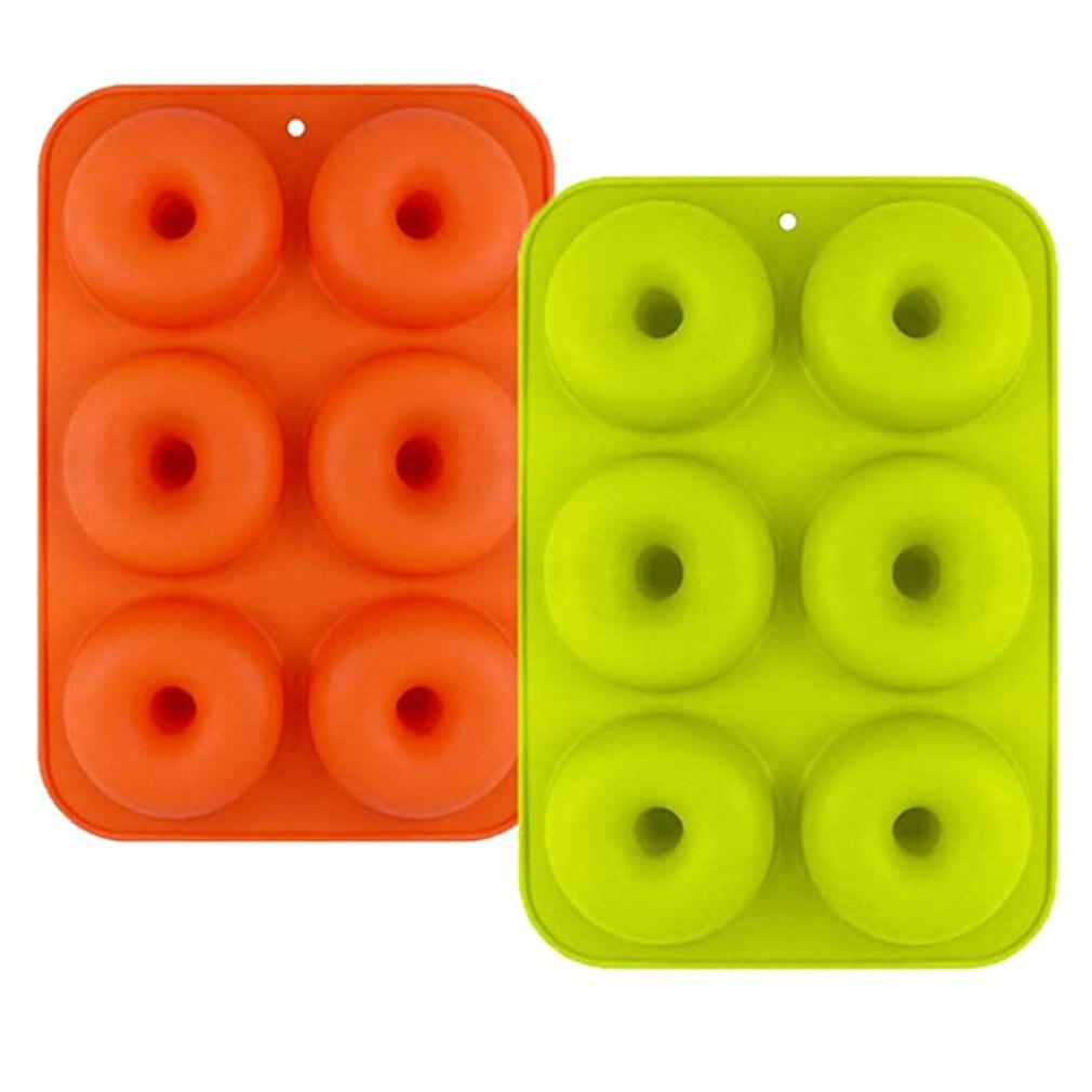 Molde de silicona para hornear donut, antiadherente, apto para horno y microondas, color verde naranja, de dos piezas