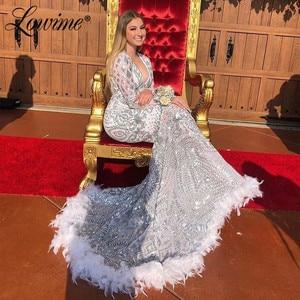 Robe De Soiree Longue Silver Sequins White Feather Evening Dresses Saudi Arabia Long Prom Dress V Neck Dubai Kaftan Abendkleider