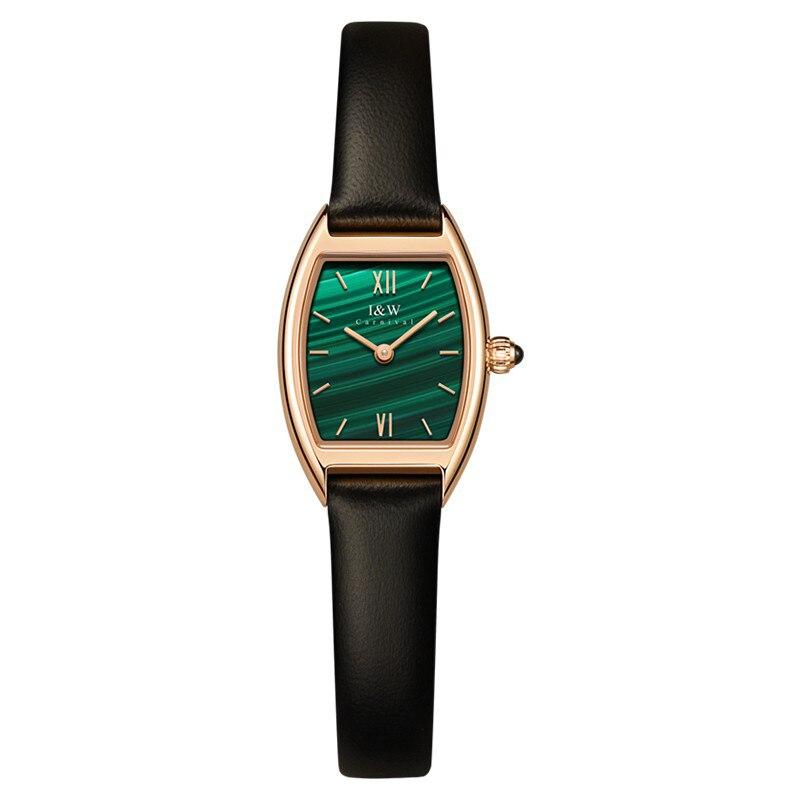 Switzerland Made Watch for Women Luxury Brand I&W Tonneau Women Watch Sapphire Genuine Leather Strap Ultrathin Zegarek Damski