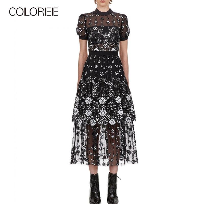 COLOREE 2019 pasarela diseñador Maxi vestido elegante lentejuelas negro Patchwork vestido Vintage manga corta Mujer vestido largo alta calidad